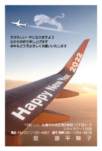 飛行機の窓から見える翼に「ハッピーニューイヤー」(カードボックスの干支なし年賀状)